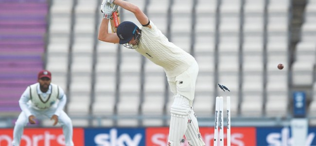 England struggle for runs in brief play against West Indies