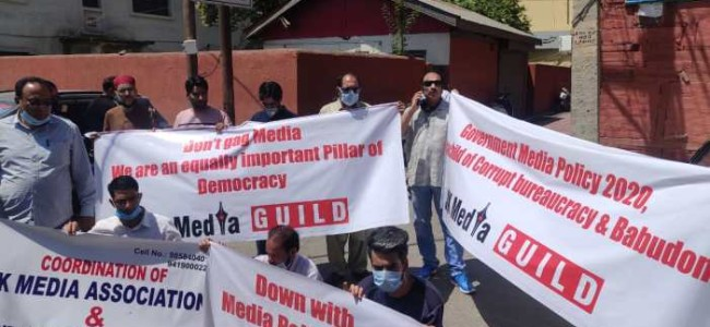 Journalists protest against new media policy in Srinagar